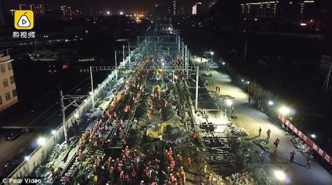 Китайцы построили железную дорогу за 9 часов