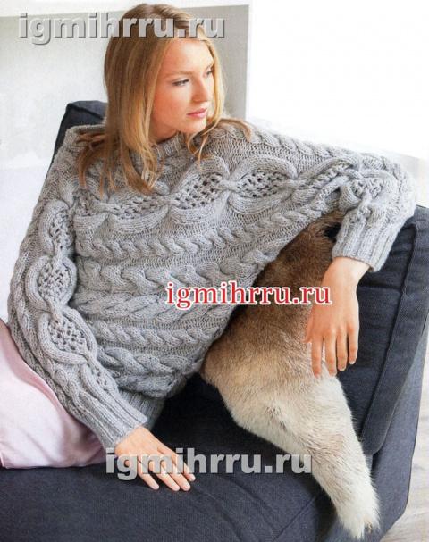 Пуловер-кимоно спицами с косами