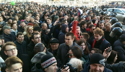 Нанесогласованном митинге вМоскве неизвестные распылили газ