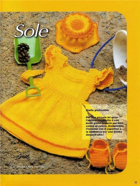 схемы вязания детских платьев