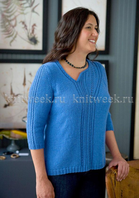 Оригинальный пуловер спицами (большие размеры)