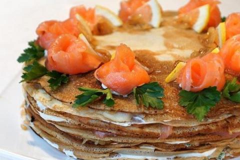 Блинный тортик к Масленице! Блины с сыром на кефире на Масленицу