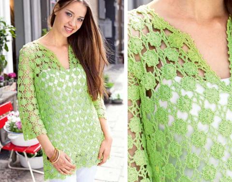Зеленый ажурный пуловер крючком