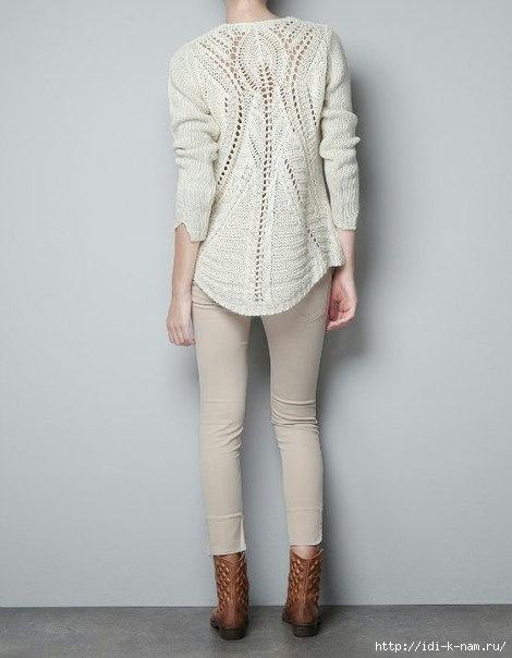 Женский пуловер спицами с оригинальным ажуром