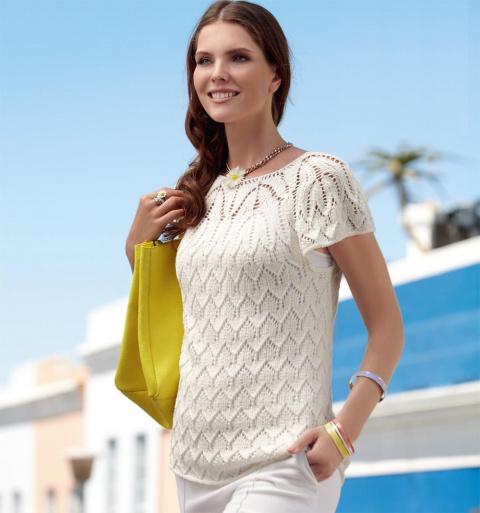 Ажурный пуловер спицами с короткими рукавами