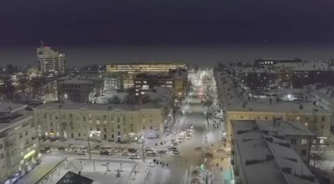 Квадракоптер снял зимний Петрозаводск