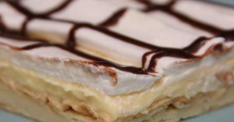 Супер-десерт с неповторимым вкусом: пирог «Эклер» из нежнейшего заварного теста, наполненный кремом и политый шоколадной…