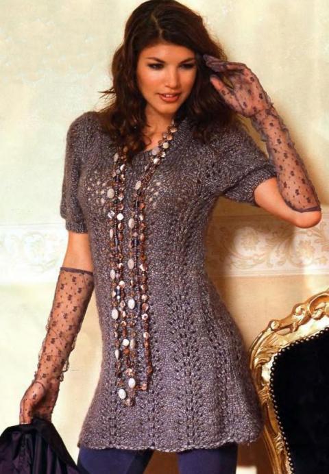 Вязанные платья спицами