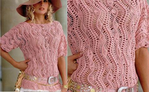 Розовый ажурный джемпер вяжем на вилке