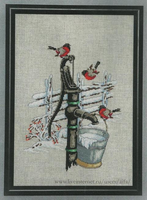 """Вышивка крестом - """"Снегири"""" …"""