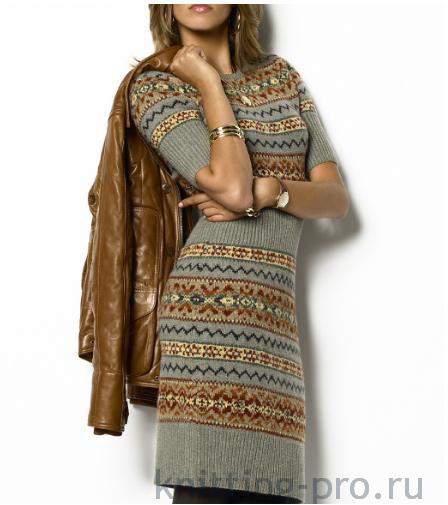 Платье с жаккардами от Ralph Lauren