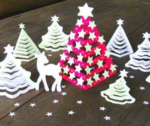 Очаровательные 3D-ёлочки из бумаги