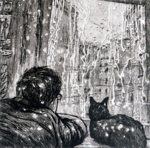 """Зуев Алексей. Человек и кошка. Из серии """"Двое"""" Литография."""