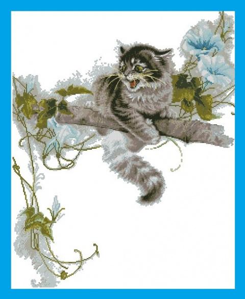 Вышивка Котенок на дереве