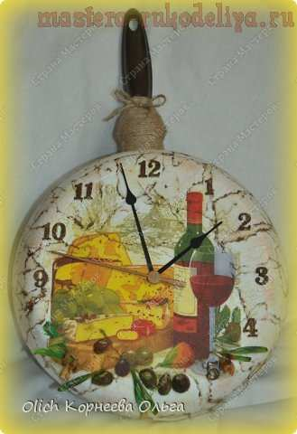 Часы на кухню. МК по декупажу на металле