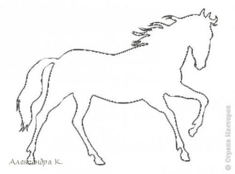Бумажные лошадки-снежинки.Шаблон.