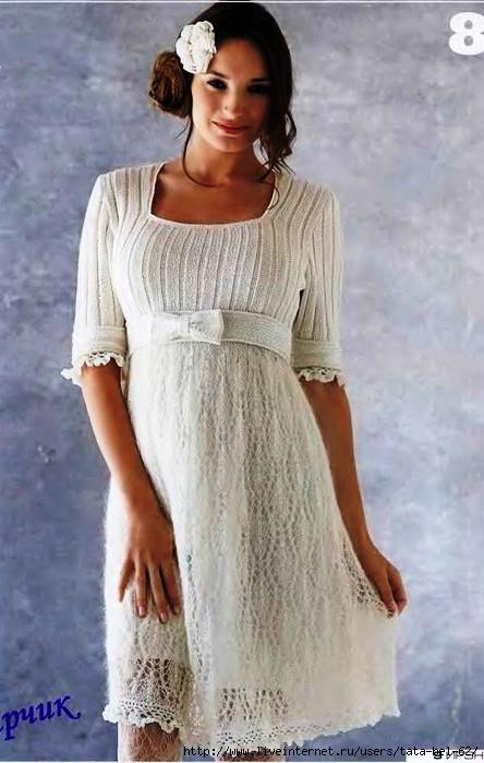 Нарядное ажурное платье спицами