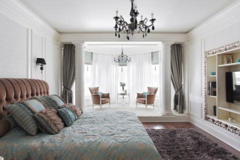 Дизайн спальни с эркерным окном