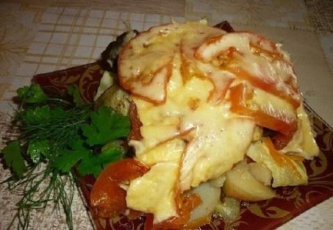 Чудо гарнир — овощи, запеченные слоями в мультиварке