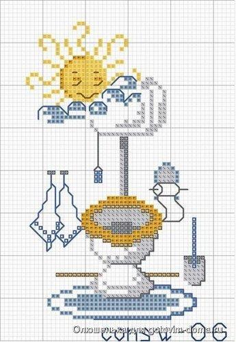 Схема вышивки крестом туалет ванна