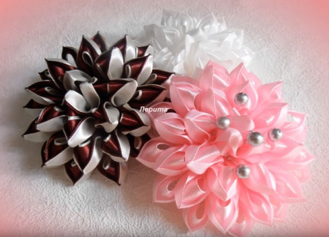 Воздушный цветок канзаши. Мастер-класс