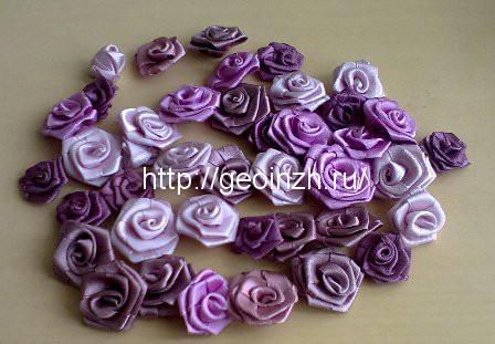 Ободок для волос с розами, скрученными из лент