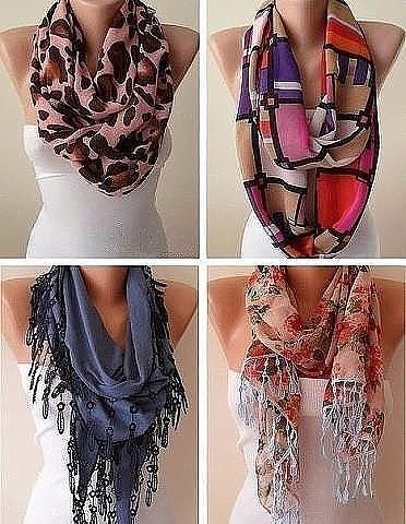 Много идей с платками и шарф…