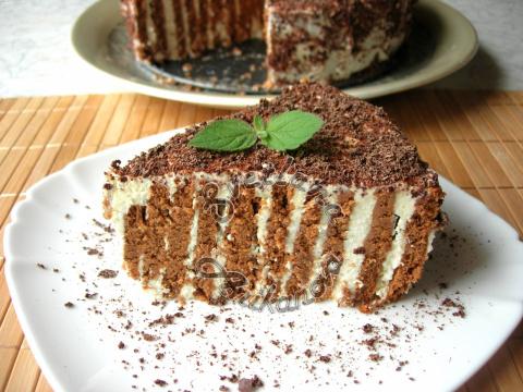 Полосатый торт без выпечки. Вкусный десерт всего за 20 минут