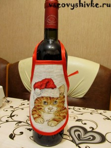 Мастер-класс — вышивка с фартуком на бутылке