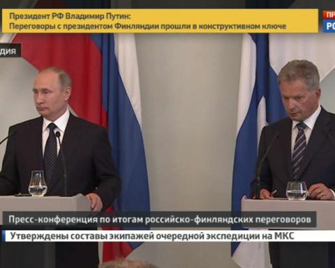 Пресс-конференция Владимира Путина и Саули Нийнистё