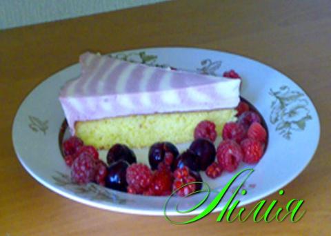 Черешнево-творожный  торт.