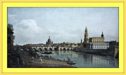 Вид на Дрезден с правого берега Эльбы, ниже моста Аугустусбрюкке. 1748г.