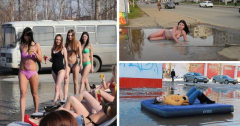 Сумасшедшие люди, которые так и не дождались пляжного сезона (22 фото)