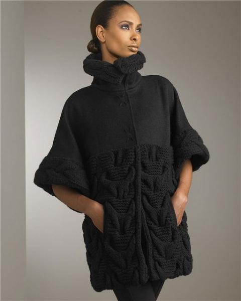 Сверху: Это объёмное пальто женское вязаное спицами идеально для полных дам
