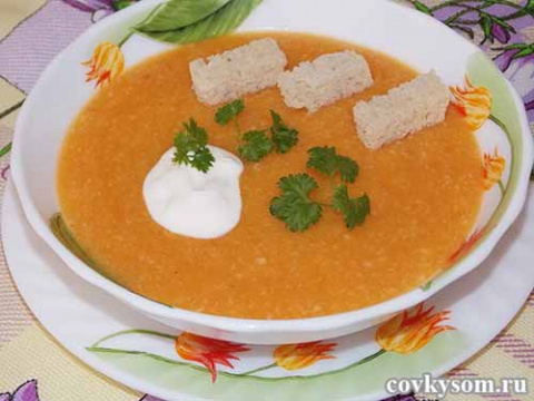 Овощной суп-пюре с плавленым сыром