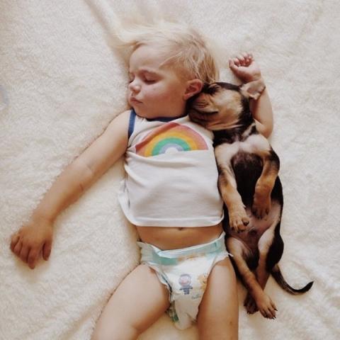 Ребенок и щенок - лучшие друзья