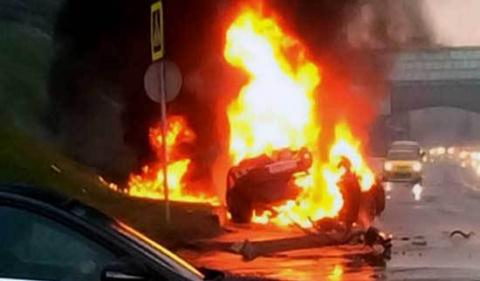 Московский стритрейсер сгорел заживо в разбитом «Мазерати»