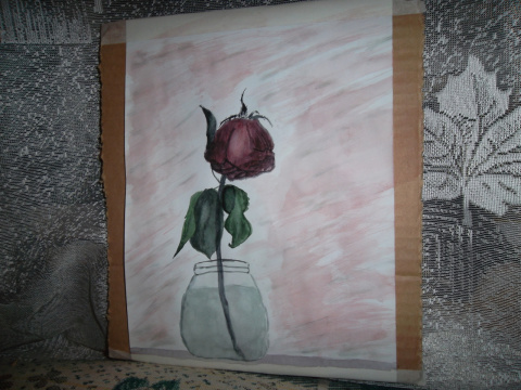 роза завяла...акварель