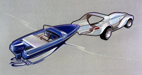 1969 год. Автомобиль-амфибия Evinrude Lakester