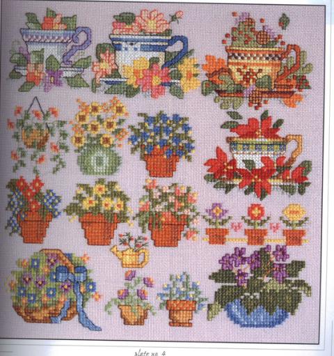 Мини-вышивка крестом — схемы для цветочных миниатюр