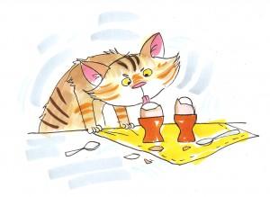 Кот яйца вылизывает