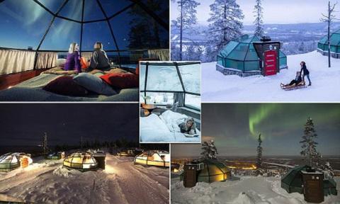 В Финляндии стеклянный иглу-отель позволяет любоваться северным сиянием