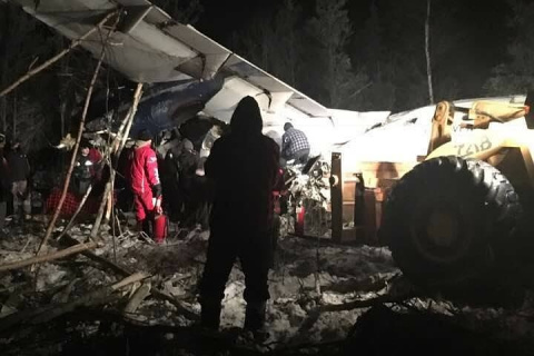 Появилось видео с места крушения пассажирского самолета в Канаде