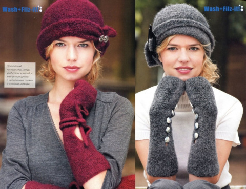 Два элегантных комплекта: шляпка и изящные митенки