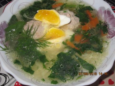 Суп с орзо и шпинатом