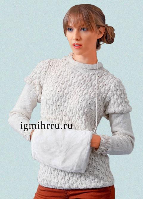 Пуловер с рукавом фонарик спицами