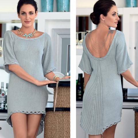 Платье с вырезом на спинке спицами