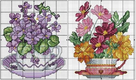 схемы вышивки букетов цветов