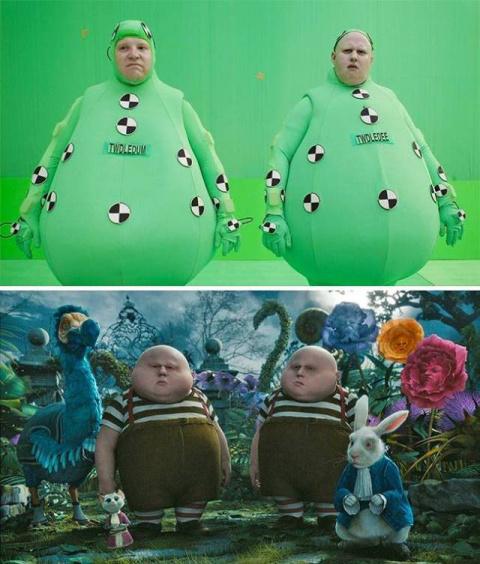 Кадры кинолент до и после наложения спецэффектов