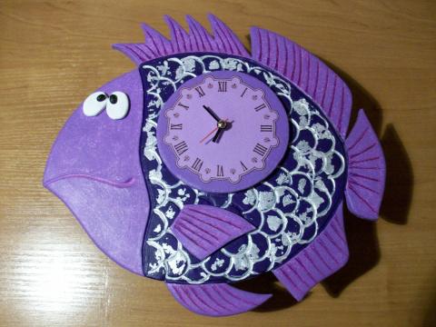 Часы-рыба из пластики. Мастер-класс